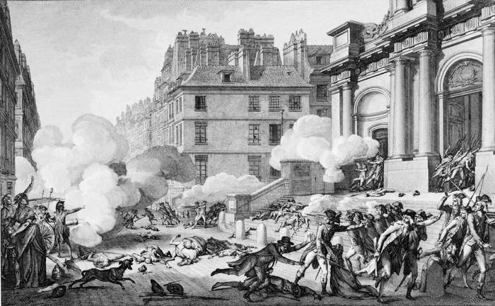 Парижское восстание 13 вандемьера, артиллерийский огонь перед церковью Сен-Рош, Париж